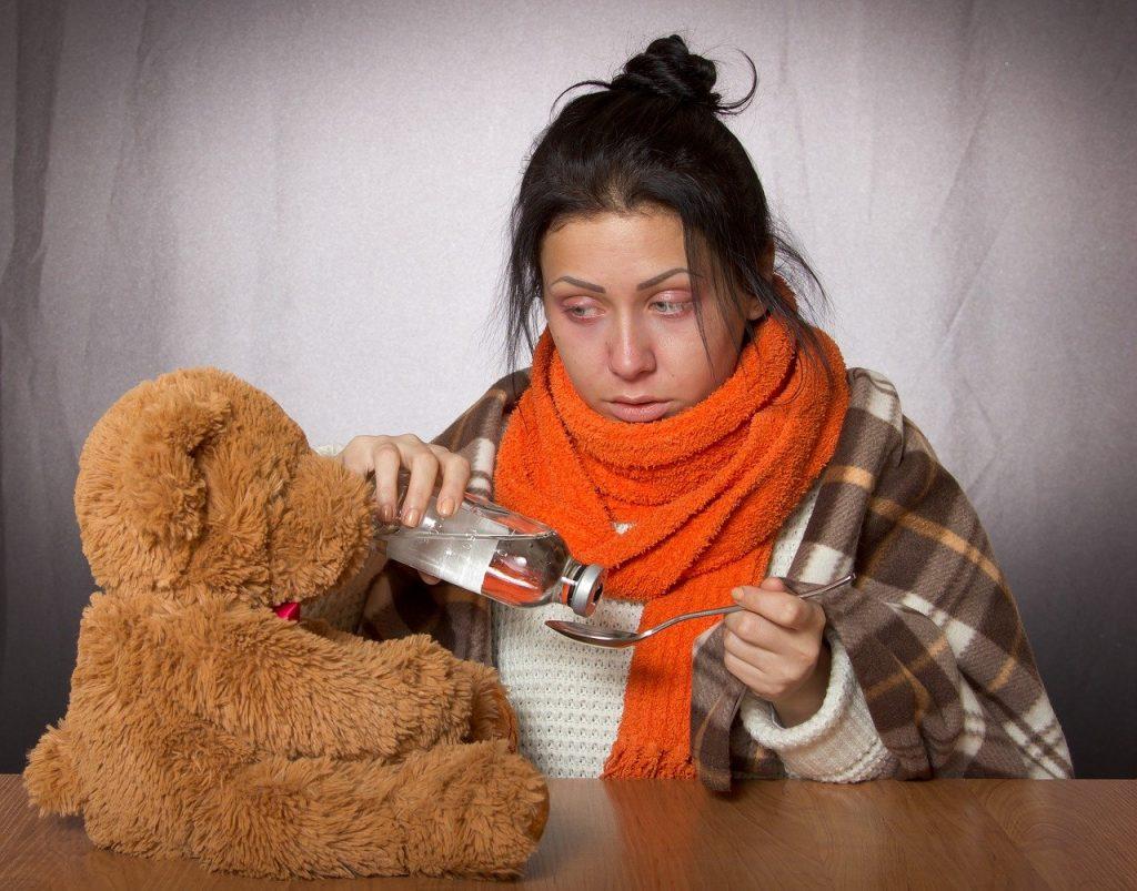 girl, flu, medication